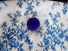 Vintage Pair of Laura Ashley Blue and White Quilted Cotton Shams.