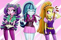 The Dazzlings aka the Sirens Adagio Dazzle, Sonata Dusk and Aria Blaze from my little pony friendship is magic equestria girls rainbow rocks