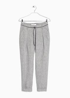 PREMIUM - Linen high-waist trousers