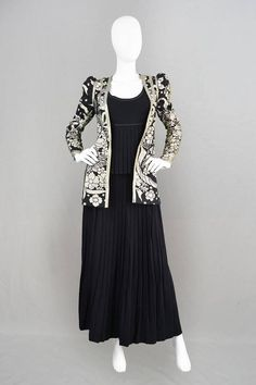 1970s Bill Gibb Vintage Three Piece Pleated Skirt Suit with Embroidered Jacket 2