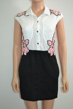 Carven White/Black/Pink w/Plaid Floral Embroidery Cotton Sleeveless Dress Sz 34 - US $155.00 Pre-owned in Clothing, Shoes & Accessories, Women's Clothing, Dresses