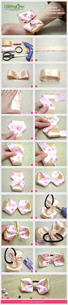 How to Make a Simple Hair Bow Out of Bicolored Ribbons