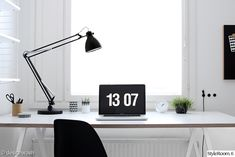Home office - Hay Loop Stand and Light Black White Rooms, Desk Lamp, Table Lamp, Presentation Styles, Study Space, Home Office, New Homes, Product Ideas, Interior Design