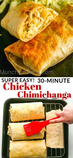 Delicious Chicken Chimichanga Recipe - it is a baked burrito, stuffed with chicken, cheese and mild chilies. Delicious Chicken Chimichanga Recipe - it is a baked burrito, stuffed with chicken, cheese and mild chilies. Authentic Mexican Recipes, Good Food, Yummy Food, Yum Yum Chicken, How To Cook Chicken, Oven Chicken, Cheesy Chicken, Pepper Chicken, Crusted Chicken