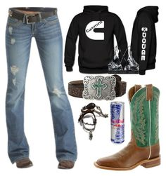 """""""Untitled #43"""" by mud-lovin-redneck ❤ liked on Polyvore featuring Emerson, M&F Western, Justin Boots and Victoria's Secret"""