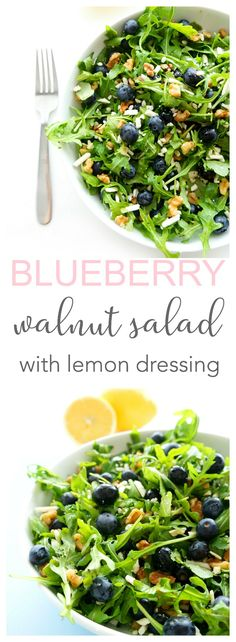 This blueberry walnut salad is light, refreshing and a definite crowd-pleaser! Plus, it's packed full of omega 3's and antioxidants, which are great for the heart! The perfect salad for those warmer summer months! | Gluten-free & vegetarian | Haute & Healthy Living
