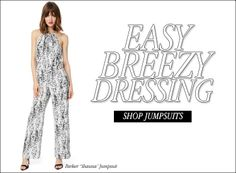 """It's officially feeling like Spring, so it's time for some easy breezy dressing! Shop our selection of hand picked jumpsuits for that effortlessly stylish look. Check out our featured jumpsuit, the Parker """"Shauna"""" in an awesome black splatter print! It's urban chic, it's got attitude, and it moves beautifully with you.  http://www.shopambience.com/rompers_jumpsuits_s/22386.htm"""