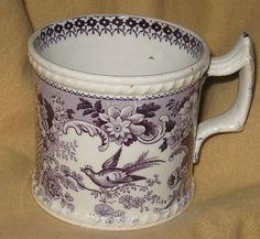 Second Quarter 19th Century Purple Staffordshire Transfer Ware Childs Mug Exotic Birds