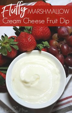 Fluffy Marshmallow Cream Cheese Fruit Dip ~ A Reinvented Mom Dessert Dips, Köstliche Desserts, Great Desserts, Fudge Recipes, Fruit Recipes, Dessert Recipes, Recipies, Slow Cooker Desserts, Marshmallow Dip For Fruit