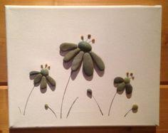 Pebble Art/ Flowers/ Canvas Art/ Beach Decor/ Home Decor/ Pen Drawing/ Mixed Media Art