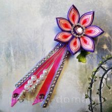 Kanzashi, Floral, Flowers, Hairpin, Bias Tape, Lilac, Royal Icing Flowers, Florals, Flower