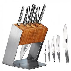 With the Global Katana Knife Block 6 Piece Set in your kitchen, you're assured of having the right knife at hand to fulfil your grandest culinary ambitions. Each of the five knives in the Global Katana Knife Block Set has been hand-crafted from the fin Global Knives, Global Knife Set, Knife Block Set, Knife Sets, Professional Kitchen Knives, Knife Storage, Knife Holder, Knife Handles, Utility Knife