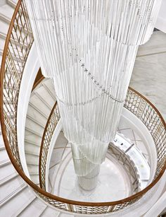 New Tiffany & Co. Flagship Store At Champs-Élysées - Staircase and Chandelier.loved it. Chandeliers, Ceiling Chandelier, Blitz Design, Interior Architecture, Interior Design, Stair Steps, Ikea, Grand Palais, Stairway To Heaven