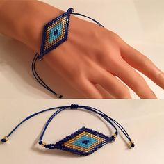 Items similar to Miyuki Delica Peyote Bracelet ,Blue Beaded Bracelet ,Beadwork Bracelet,Beadwoven Bracelets,Adjustable Bracelet, Bracelets in Peyote Stitch on Etsy