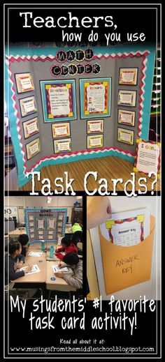 a Center Board Great ideas for learning stations in middle school and upper elementary.Great ideas for learning stations in middle school and upper elementary. Math Classroom, Classroom Organization, Classroom Ideas, Classroom Management, Behavior Management, Classroom Projects, Organizing, Learning Stations, Math Stations
