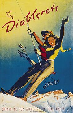 Vintage Ski Poster | Diablerets | Martin Peikert