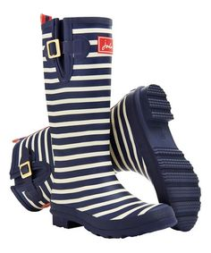 Look at this #zulilyfind! Navy Stripe Wellyprint Rain Boot - Women #zulilyfinds