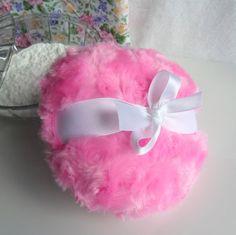 Body Powder Puff bubblegum pink and white by BonnyBubbles, $11.95 #pouf #pink