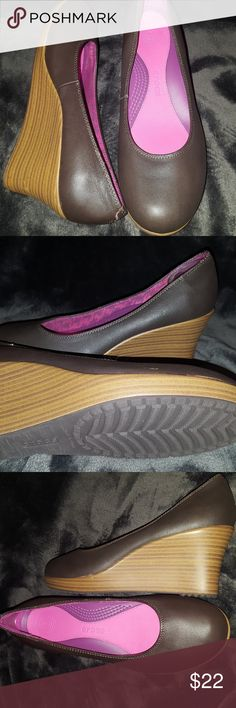 Crocs brown wedges 9 Excellent condition, reposhing because they're sadly too big. Brown size 9 wedge crocs. CROCS Shoes Wedges