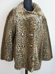 Utex Classics Leopard Faux Fur Jacket Coat AnimalPrint Jacket size L #UtexClassics #BasicCoat