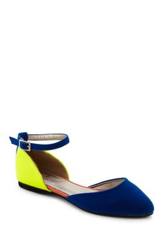 Bright as Aire Flat - Multi, Solid, Colorblocking, Flat, Mary Jane, Yellow, Blue