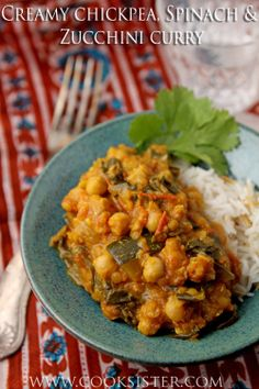 This creamy chickpea, spinach & zucchini curry is so comforting and delicious you'll never guess that it's #vegan, .     cooksister.com