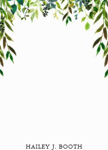 Green Watercolor Leaves Floral Draped Wreath Notes Green