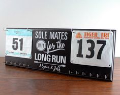 Couples Race Bib and Medal Display with his and hers bib and medal holders - Sole Mates in it for the Long Run  Weve created this display