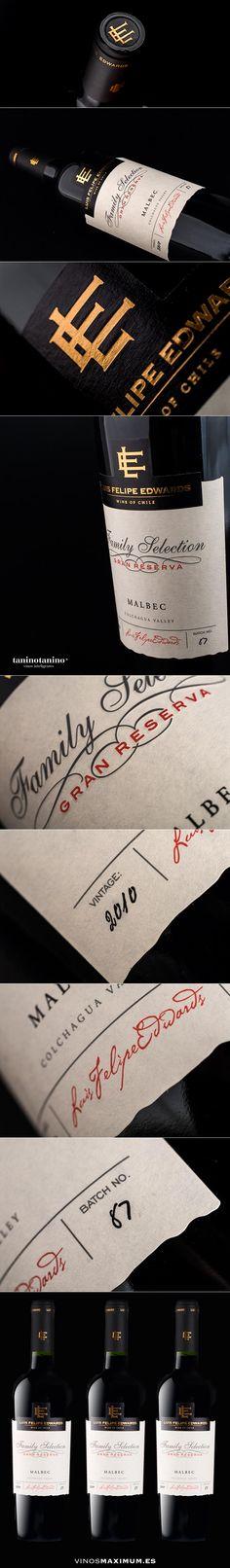 Luis Felipe Edwards Gran Reserva Selección Familiar Malbec 2010 #vinosmaximum Beverage Packaging, Label Design, Packaging Design, Wine And Spirits, Wine Drinks, Beverages, Wine Label, Wine, Bottles