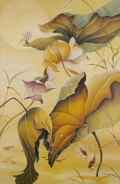 Ashley Coll - Autumn Lotus painting - Available at Paragon Fine Art - www.paragonfineart.com