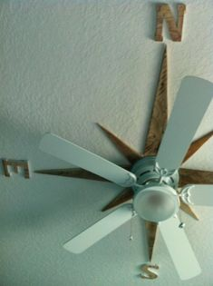 I made a nautical star on the ceiling around the fan using pallet wood. #CoastalDecor