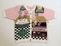 Susan Bristol M Ice Cream Parlor Sweater Spoons Dalmatian 1995
