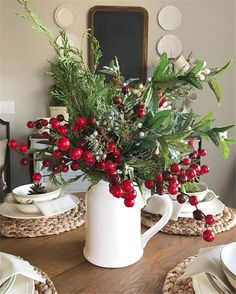 Are you searching for inspiration for farmhouse christmas tree? Check this out for cool farmhouse christmas tree pictures. This particular farmhouse christmas tree ideas seems to be completely brilliant. Diy Christmas Door Decorations, Christmas Table Settings, Farmhouse Christmas Decor, Holiday Decor, Christmas Arrangements, Diy Christmas Centerpieces, Seasonal Decor, Christmas Decor In Kitchen, Christmas Home Decorating