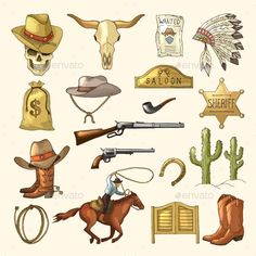 Buy Colored Illustrations of Wild West Symbols by ONYXprj on GraphicRiver. Colored illustrations of wild west symbols. Vector wild west and gun, weapon and h. Western Games, Western Theme, Westerns, Western Tattoos, Cowboy Photography, Wild West Party, Horse Wallpaper, Flash Art, Le Far West
