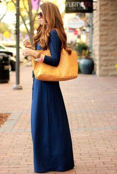 Navy Maxi Dress @Colleen Catching Bliss Boutique || www.theteacherdiva.com
