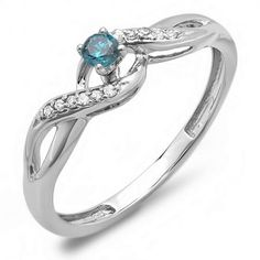 Share for $20 off your purchase of $100 or more! 0.20 Carat (ctw) 14k White Gold Round Blue And White Diamond Crossover Swirl Ladies Bridal Promise Engagement Ring 1/5 CT - Dazzling Rock #https://www.pinterest.com/dazzlingrock/