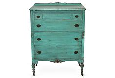 gorgeous!  too bad it's outta my price range - vintage turquoise dresser One Kings Lane