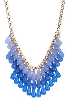 Blue Briolette Bib Necklace