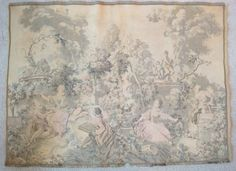 Antique 19th Century French France Victorian Garden Tapestry