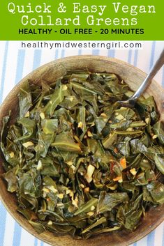 Quick & Easy Vegan Collard Greens are simple enough for a weeknight meal, with enough flavor to serve to guests or as a holiday side dish. Just 4 ingredients + 20 minutes. Recipe post includes step-by-step instructions & photos to make prep time a breeze!