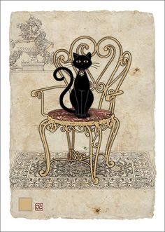 Chair Cat by Jane Crowther. Bug Art greeting cards.