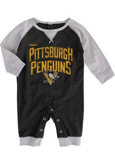 93d4ea481 Pitt Penguins Baby Black Proud Fan Creeper Pitt Penguins