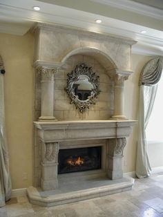 The Normandy Fireplace Mantel shown with overmantel