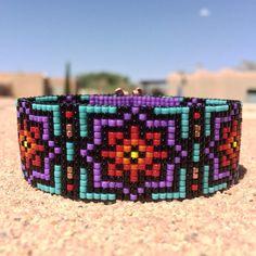 Rainbow Burst Bead Loom Bracelet Bohemian Boho by PuebloAndCo