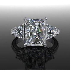 ❤️❤️❤️ Forever Brilliant Three Stone Engagement Ring 4.16 CTW – Bel Viaggio Designs size 5.5