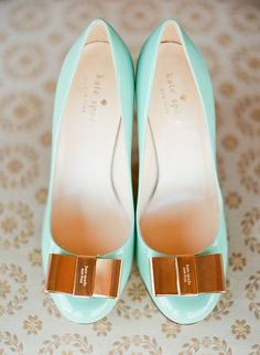 Girly Kate Spade heels in mint for the bride! | Photo by Taylor Lord Photography