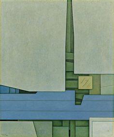 Paisaje Espejismo , 2000, 28 1/2 x 23 3/4 in., Latin American Masters. photo: Francisco Kochen Estructura en gris y rojo , 1964, oil on can...