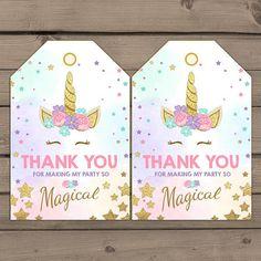 Unicorn Favor Tags Unicorn Birthday Thank you tags Label tags Magical Birthday Gift tags  Rainbow Pink gold Girl Digital PRINTABLE ubp