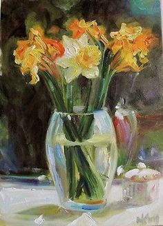 'Daffodils on the Window Sill' alla Prima Oil on Panel by Margot King