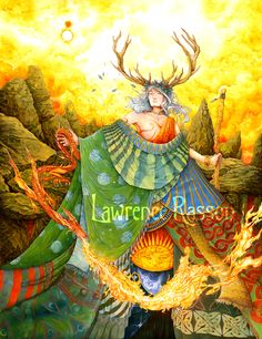 """""""Merlin"""" An illustration from """"La République Invisible"""". French translation of the Reverend Kirk's book (Elf-shot éditions) about Fairie's culture. Medium : Acrylic"""
